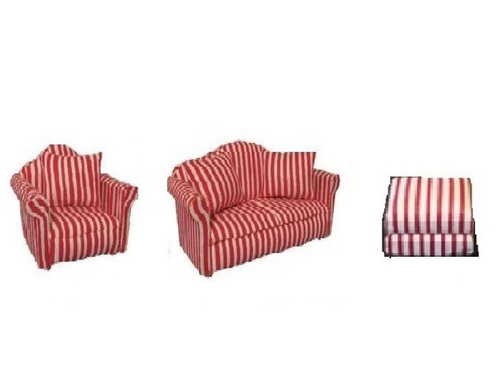 Lounge red striped  sofa, chair and foot stool